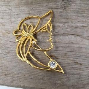 Awesome Gold Tone Woman's Profile Pin Rhinestone
